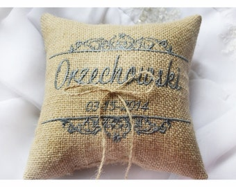Burlap Wedding pillow , wedding pillow , ring bearer pillow, ring bearer pillow personalized wedding pillow (R51B)