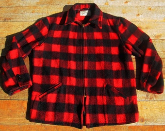 Vintage LG 50s Red N Black Macinaw Plaid Hercules Jacket