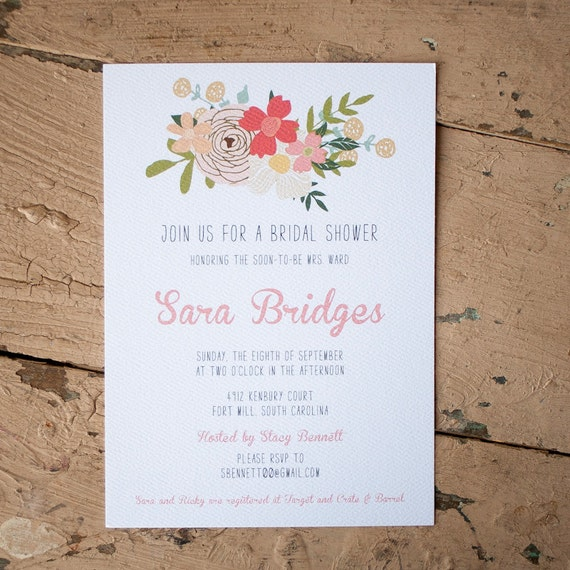 Rustic Bridal Shower Invite, bridal shower invitation - The Swag - Rustic, floral, farm, country, , flowers, roses, vintage