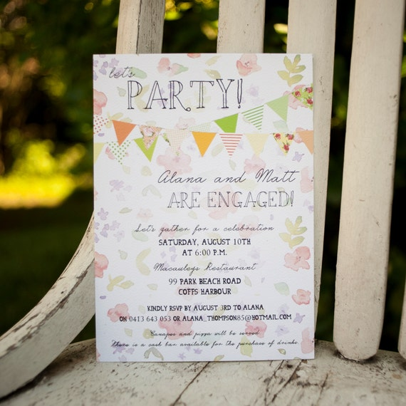Rustic Wedding Shower Invite, Couples Shower invitation - The Garden - Engagement Party, Romantic, floral, bunting flags, spring, invite