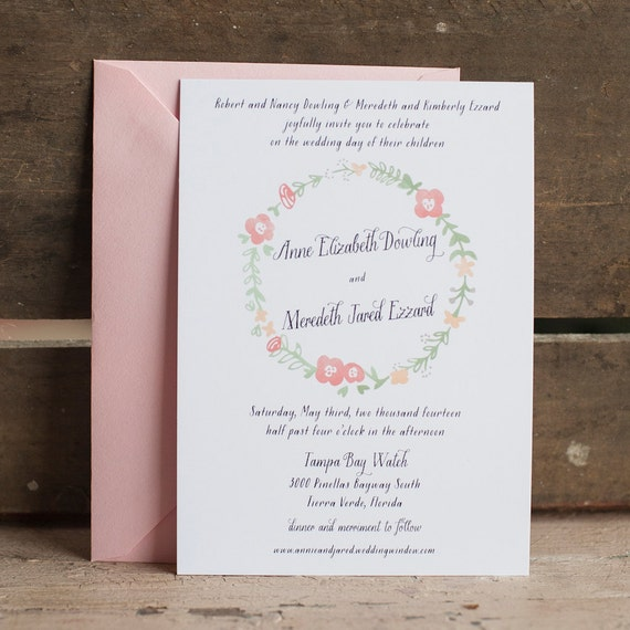 The Annabelle Wedding Invitation, Floral Wedding Invitation Rustic Wedding Invitation, floral wreath invitation, calligraphy, flowers, eco