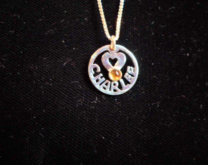 any name dime w/heart and birthstone