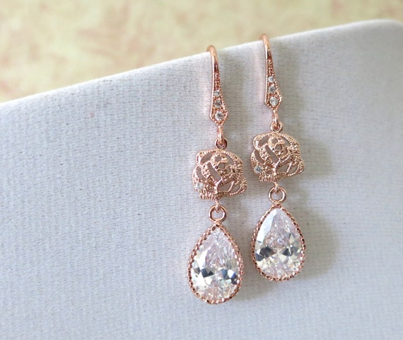 Rose Gold Cubic Zirconia Teardrop Rose Flower Earrings - gifts for her, bridal gifts, dangle, pink gold weddings, bridesmaid earrings