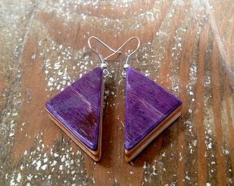 Purple Skateboard Deck Earrings