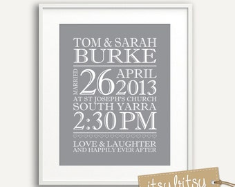 Wedding Print Personalized - You Choose Colours -  Makes a Great Wedding Gift or present- Printable Custom Wedding Print - Love