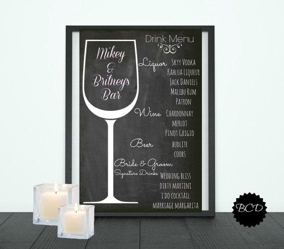 Items Similar To BEST SELLER Wedding Drink Menu Wedding Bar Menu Chalkboard Reception Digital
