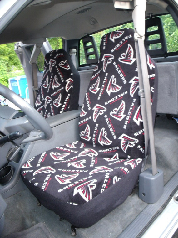 1 Set Of NFL Atlanta Falcons Print seat covers and steering wheel cover custom made.