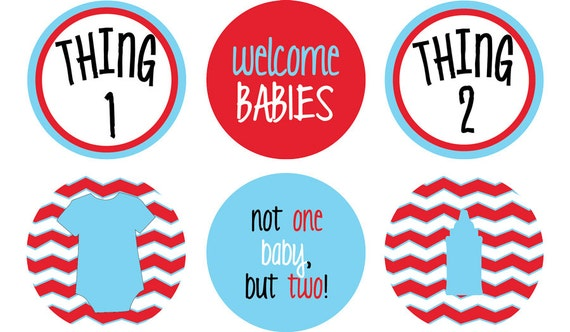 thing 1 thing 2 twin baby shower party circles