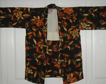 Haori Silk Vintage Japanese Haori Kimono Jacket Lovely Chirimen Silk Haori Flowers Modified Sleeves Vintage Japanese Silk Haori Kimono Jackt