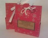 Seasonal Packaging bag for soaps red kraft paper snowflake design