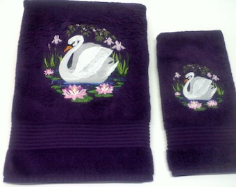 Bath Towels | Swan Bath Towel Set | Bath Towel Sets | Decorative Bath Towels | Embroidery Bath Towel Sets | Specialty Towel
