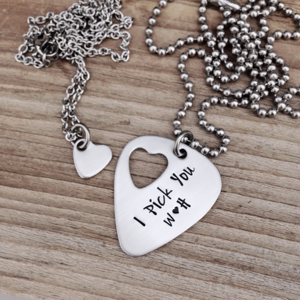 Design Your Own Custom Bangle Charm Bracelet Pick Your Charms: Custom Hand Stamped Guitar Pick Necklace With Cut Out Heart