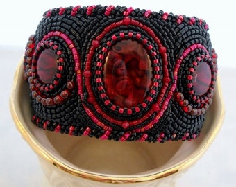 Bead Embroidery Jewelry bead embroidered cuff bracelet red black Paua beaded Cuff one of a kind cuff bracelet unique gift statement cuff
