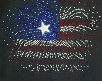 4th of July American Flag Fireworks Rhinestone T-Shirt