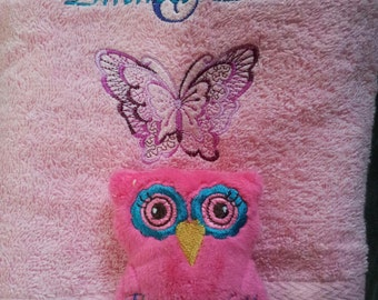 Personalised gift set. Towel and Hand made owl softie.