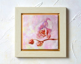 Orchid Painting White Orchid Ceramic Tile Orchids Wall Art Original Painting Orchid watercolor Orchid Picture Orchid Plant Shabby Chic