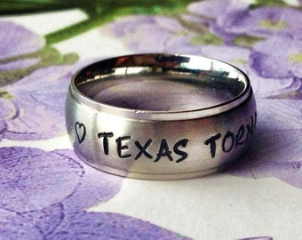 Personalized Ring, Engraved Ring, TriBand Domed Personalized/Engraved Ring, Name Ring,  TBDSS01