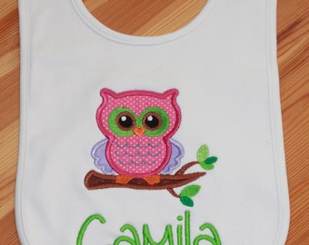 Personalized Applique Baby Bib - Owl on a Branch