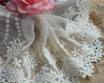 Tulle Embroidered Lace Trim Milk White Cotton Floral Embroidered Scalloped Lace Trim 5.11 Inches Wide 2 Yards Costume Headware Supplies