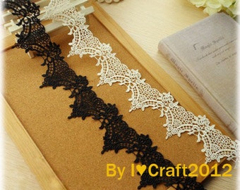 Black Venice Lace Trim Floral Scalloped Lace Trims 2 Inches Wide 2 Yards Wedding Dress Costume Headware DIY Crafting Supplies