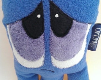 Happy and Sad plush stuffed monster toy. Made in the UK. Horace, a two-sided stuffed plush monster toy. Helps children to express emotion