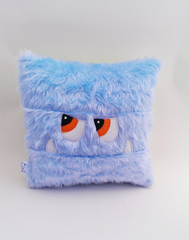 Sale Monster Pj Case Kids Pillow Cushion Pale Blue Faux