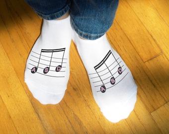Custom Printed Monogram Music Notes - No-Show Socks - Sold as a Set of 3
