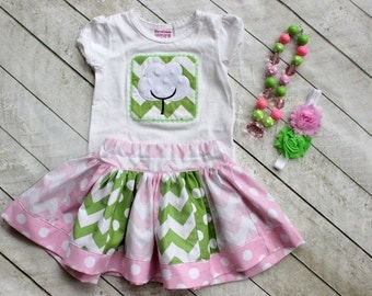 Pink Green Girls outfit Cotton Boll outfit chevron outfit chevron polka dot outfit girls Birthday outfit toddler outfit skirt set chevron