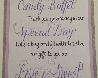 Candy Buffet Sign, Wedding Sign, Welcome Sign, Candy Sign