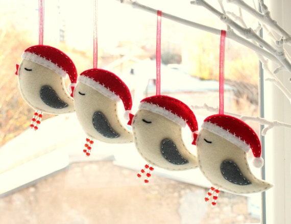 Felt Bird With Santa Hat Christmas Tree Ornament Set Of 4