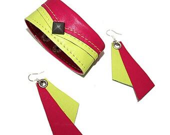 SALE! Leather bracelet and earrings. Lemon and fuchsia