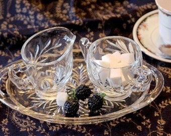 Indiana Glass EAPC - Cream and Sugar Set - Oleander Pattern - Oval Glass Serving Tray - Willow & Magnolia Leaf