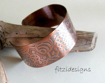 Handcrafted Copper Cuff Etched with OOAK Design