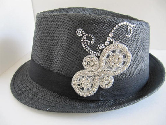 fedora hat fedora bling hat womens hat bling hat