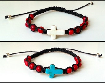 CROSS Shamballa Bracelet with Natural Stones for men and women, guy and girl, stackable and adjustable Lusnyak