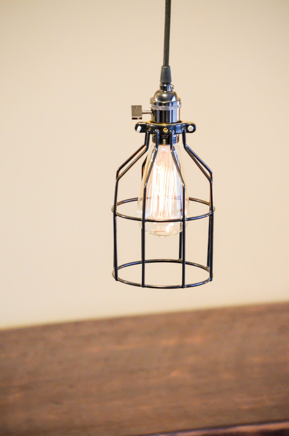 pendant light fixture cage industrial style
