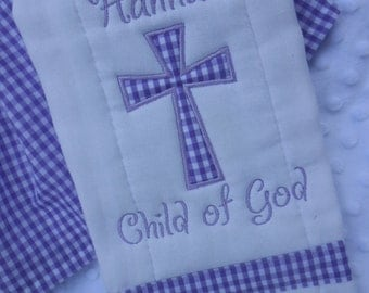 Personalized Child of God Baptismal Burp Cloth