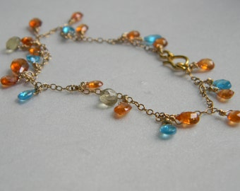 SALE. bracelet. spessartite. lemon quartz. apatite.