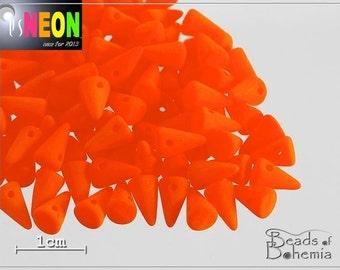 24 pcs UV Active Neon Orange Czech Glass Spike Beads 8x5 mm (7900)