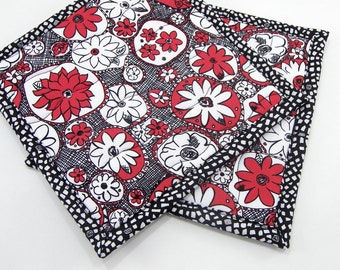 Fabric Hot Pads, Quilted Pot Holders - Black and White with Red Floral Cotton Set of Two 8 Inch Potholders