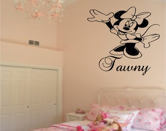 Minnie Mouse Wall Decal Personalised with Name