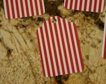 Red w/ White Stripe Tags, set of 50