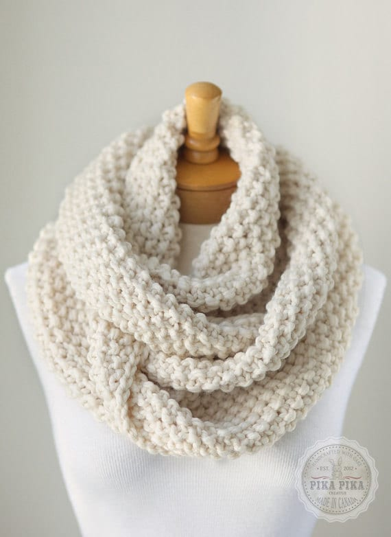 Knit infinity scarf chunky knitted infinity by PikaPikaCreative