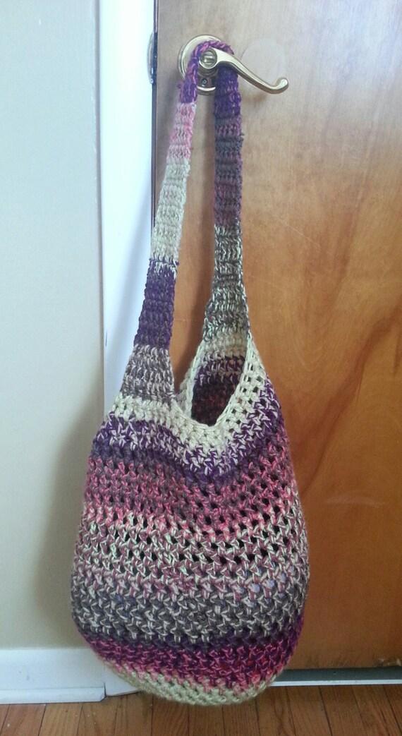 Sunset crochet tote bag market bag bohemian bag hobo bag