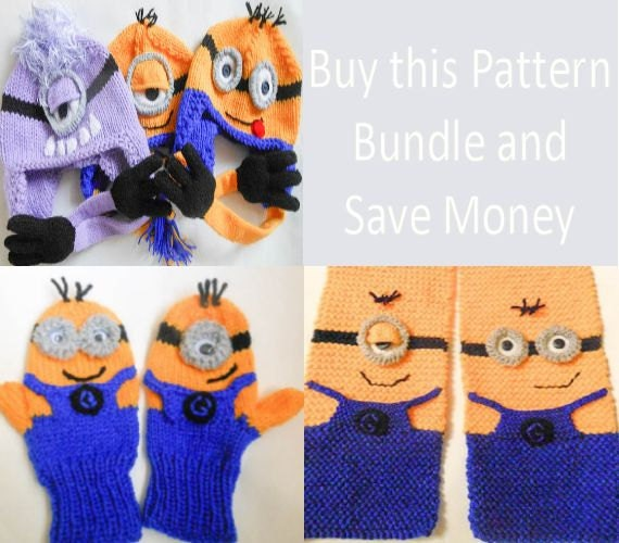 Knitting Pattern Minion Hat Mittens and Scarf by ...