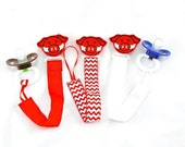 Red and White Arkansas Baby Inspired Razorback Hog Baby Pacifier  Clip & Leash ~ with felt embellishment
