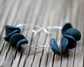 Black Clay Ruffled Hoops / Silver Plated - UNBOUNDstyle