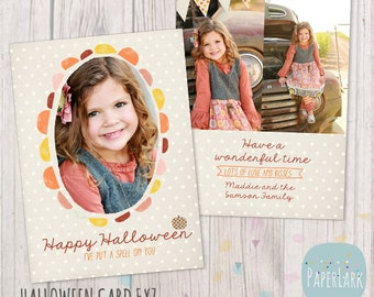 Halloween Card Template - Photoshop Template - AH002 - INSTANT DOWNLOAD