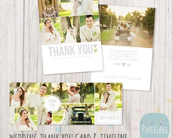 Wedding Thank You Card and Facebook Timeline Bundle - Photoshop Template - AW010- INSTANT DOWNLOAD