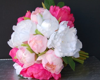 Large silky top quality peony bridal bouquet-hot pink, pink,white.